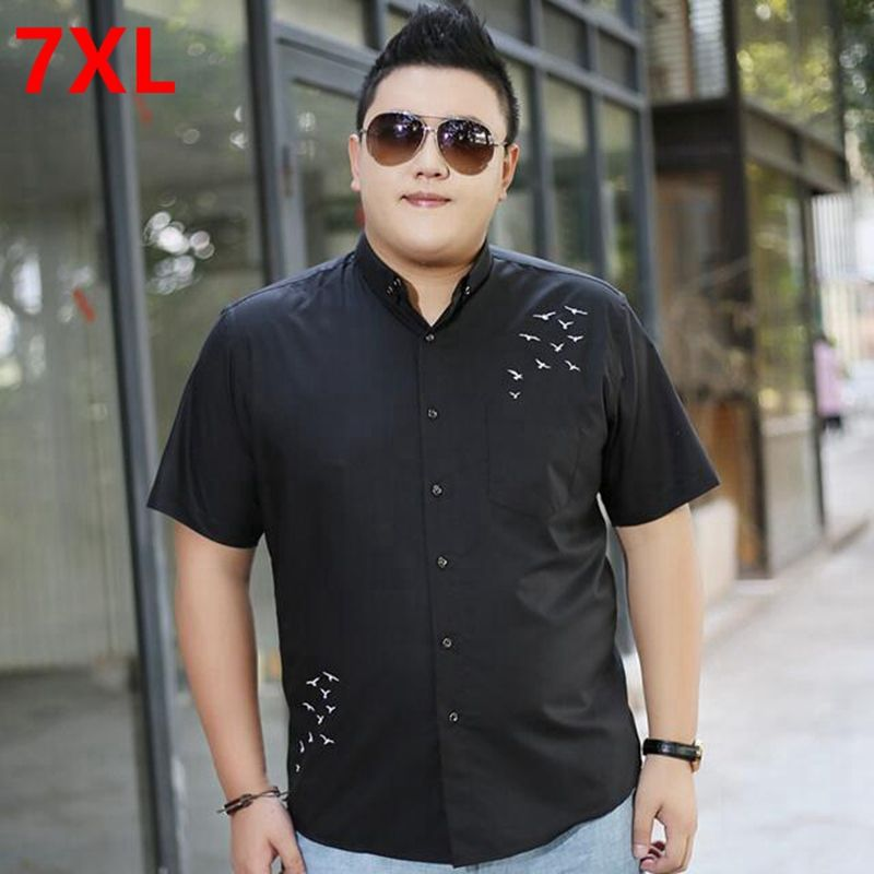 6280c3640a754 Click to Buy    Men s plus size clothing black short-sleeve shirt ...