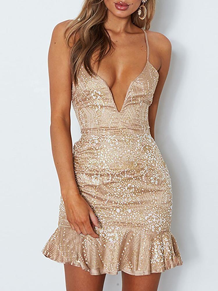 fecd909afb Deep V Lace Up Ruffles Sequins Dress   Clothes   Dresses, Beige ...