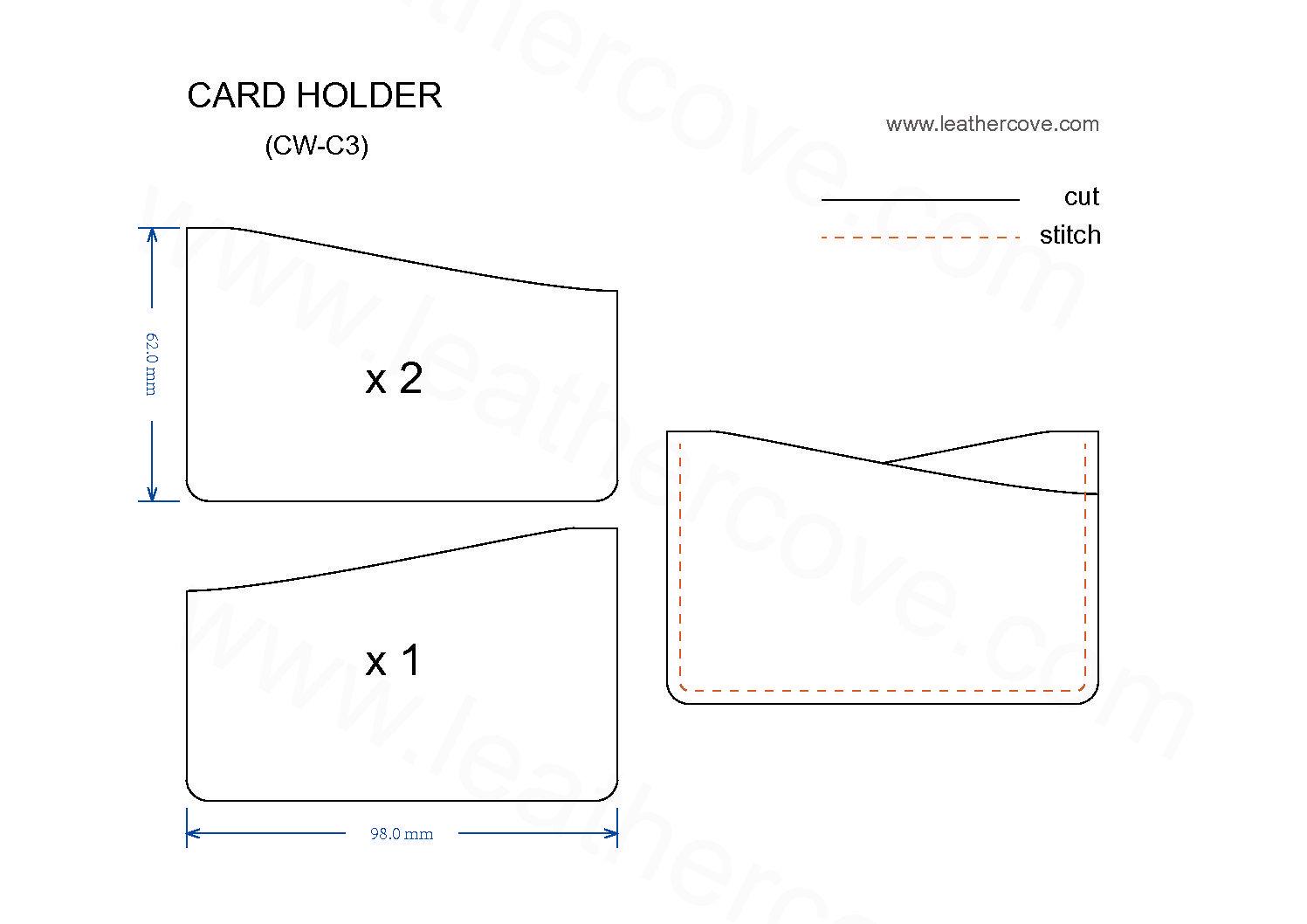 Slim Card Holder Pattern Pdf Leathercove Leather Card Wallet Pattern Leather Card Holder Pattern Card Wallet Pattern