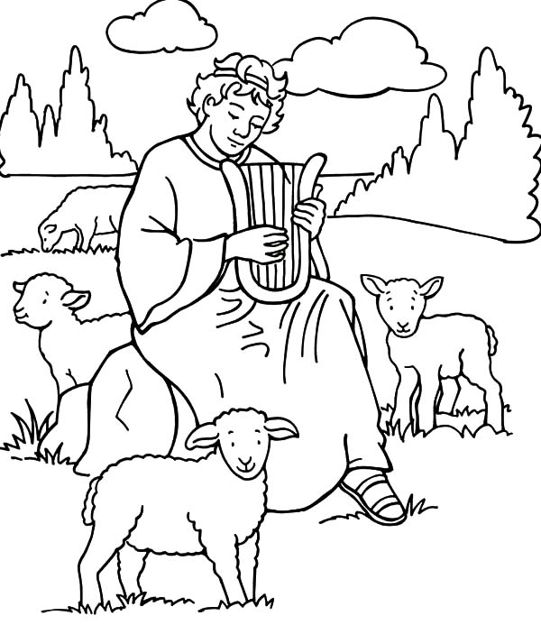 David The Shepherd Boy Play Harp Coloring Pages Kids Play Color Coloring Pages David Bible Bible Coloring Pages
