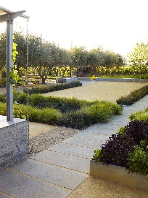 Landschaft Garten Gestaltung Idee Ziergräser Gehweg