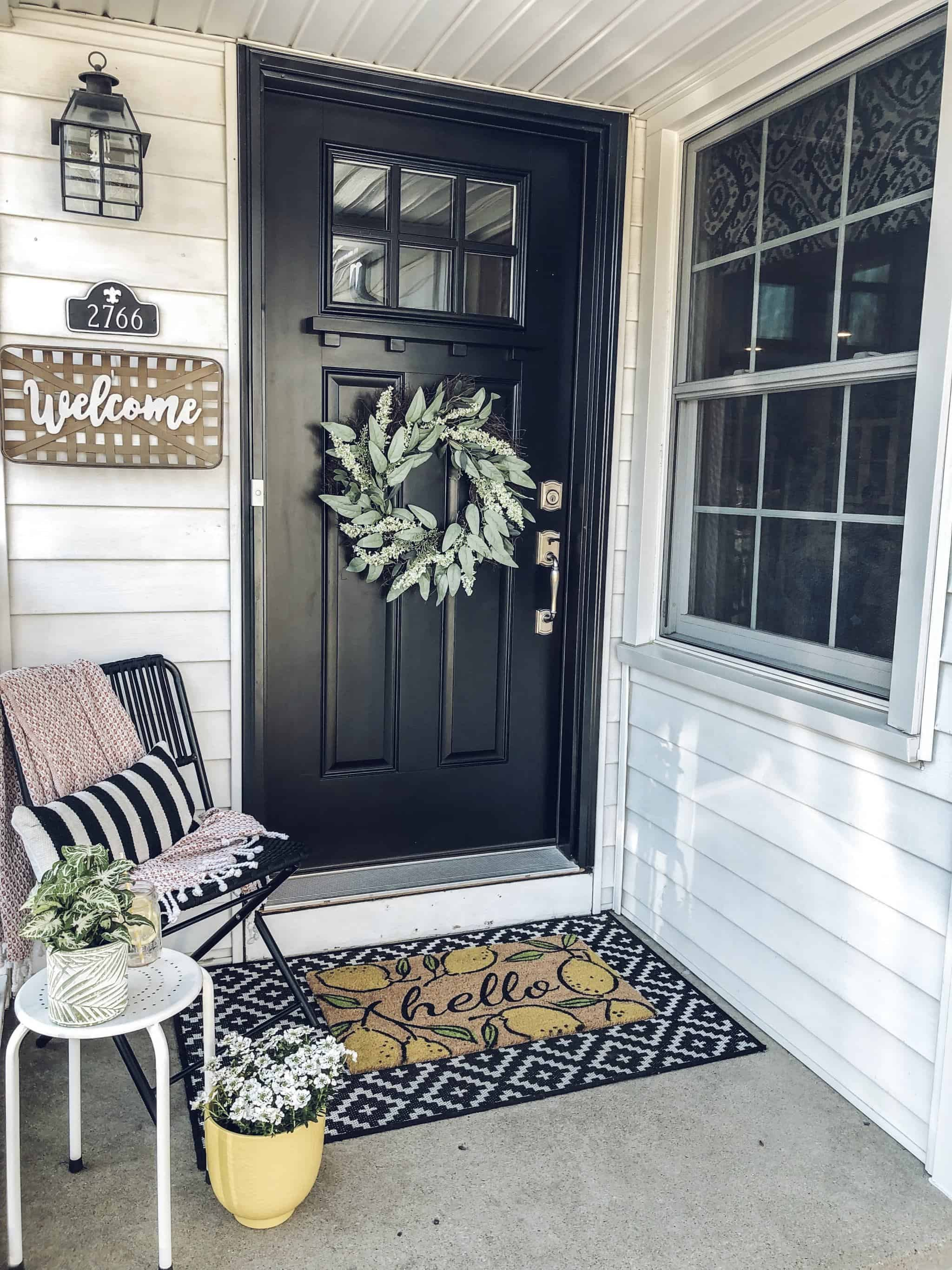 Spring Outdoor Decorating Small Front Porch Small Outdoor Living Area Outdoor Seating Gla Front Porch Makeover Front Porch Design Front Porch Decorating