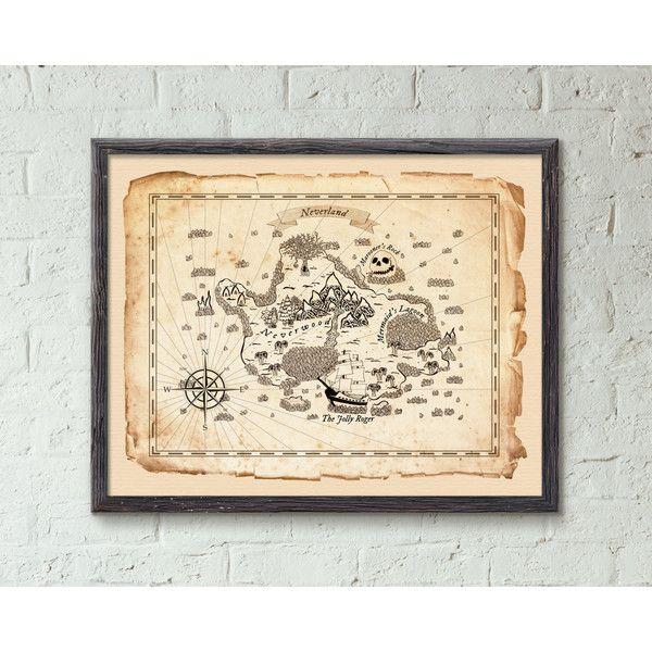 Neverland Peter Pan Map Wall Decor, Peter Pan Art Prints, Neverland... ($25) ❤ liked on Polyvore featuring home, home decor, wall art, map home decor and map wall art