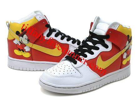 Discount Authentic Mens Nike Dunk High Shoes White/Red/Yellow Minnie Mouse