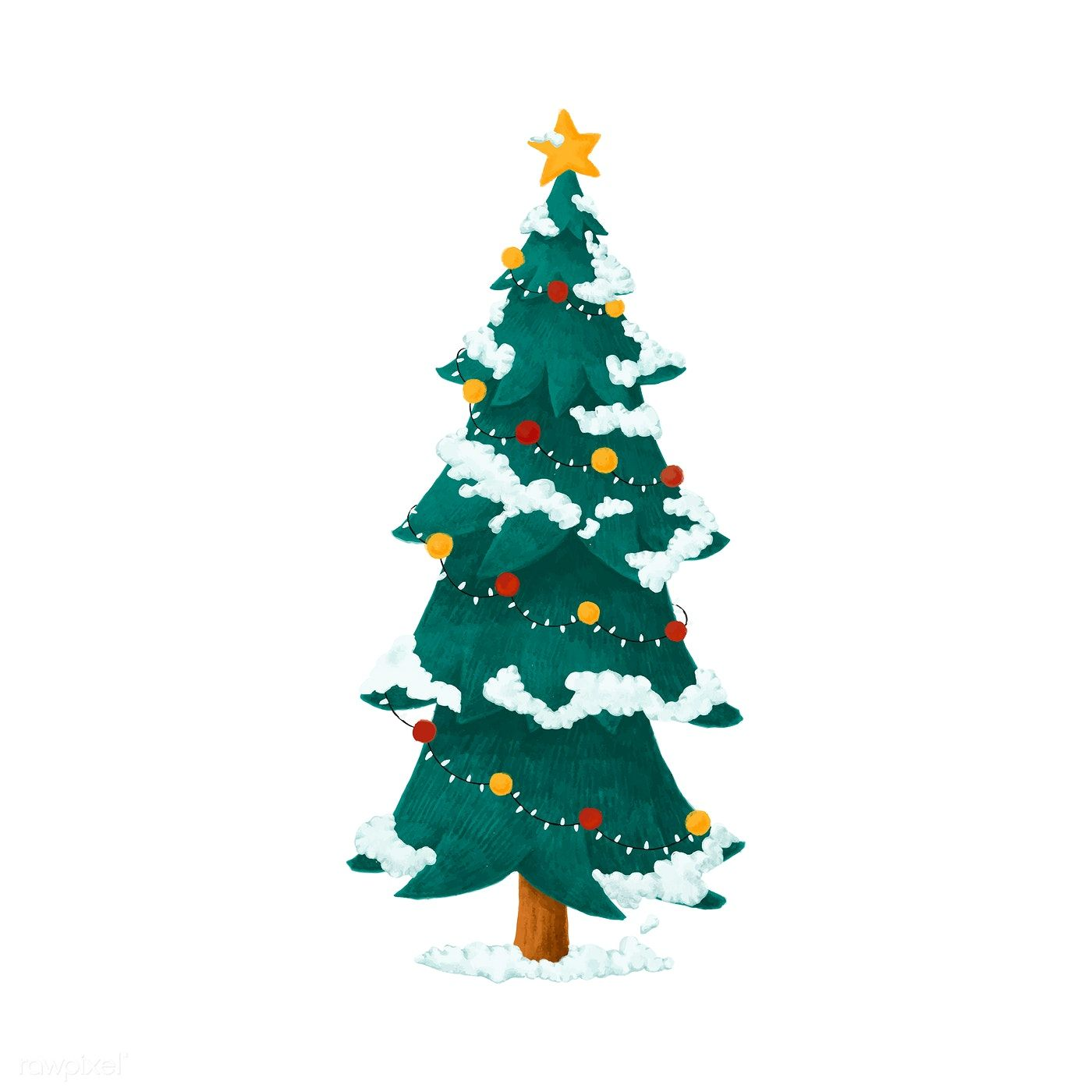 Hand Drawn Decorated Christmas Tree Illustration Free Image By Rawpixel Com Noon Christmas Tree Drawing Christmas Illustration Tree Drawing