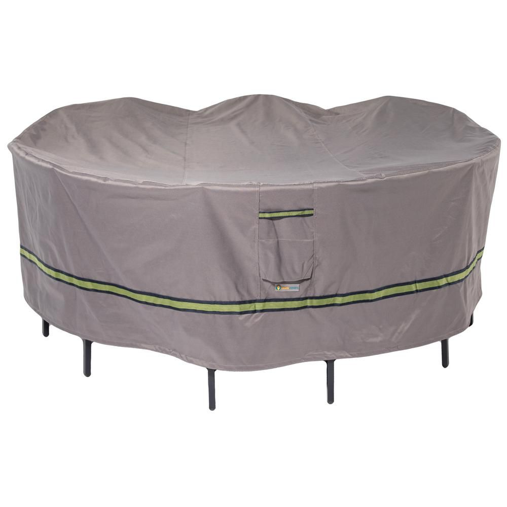Duck Covers Soteria 108 In Grey Round Patio Table With Chairs Cover Gray Round Patio Table Patio Furniture Covers Patio Table