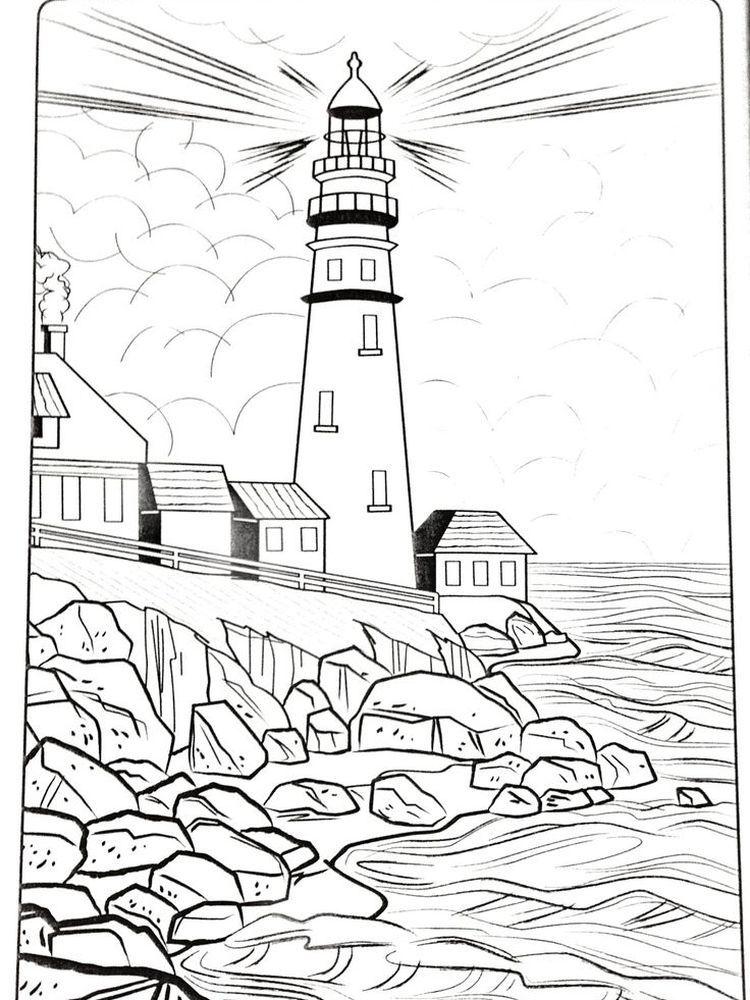 Lighthouse Art Beach Coloring Pages