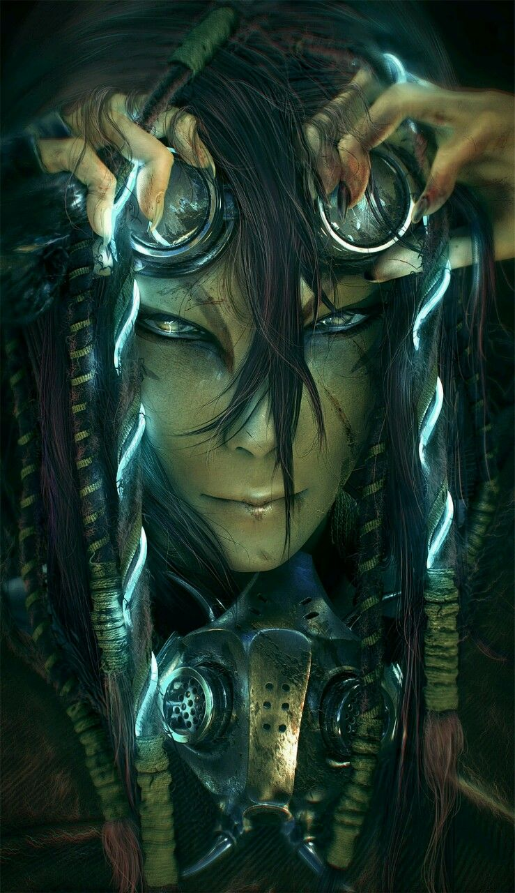 Cyber Punk/Gothic Digital Fantasy Art Concept Character