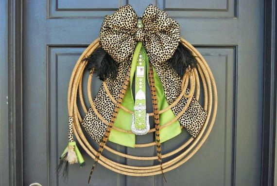 """Rodeo Cowgirl Western Lariat Rope Wreath """" Wild Green Leopard Cowgirl """""""
