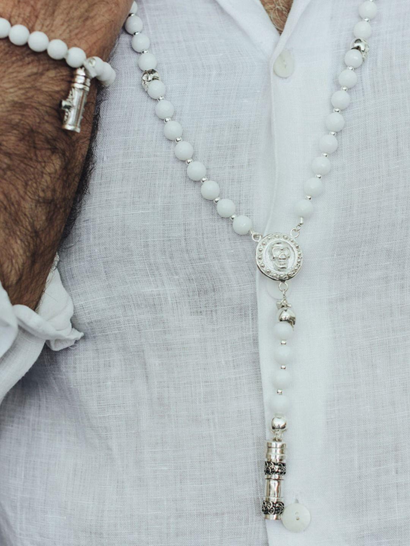 collier argent blanc homme