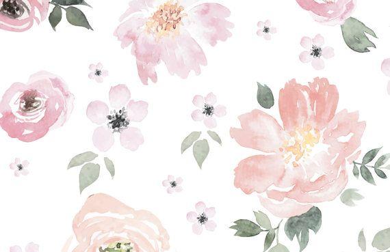 Jolie floral large mural wallpaper watercolor wall - Papel pintado bebe nina ...