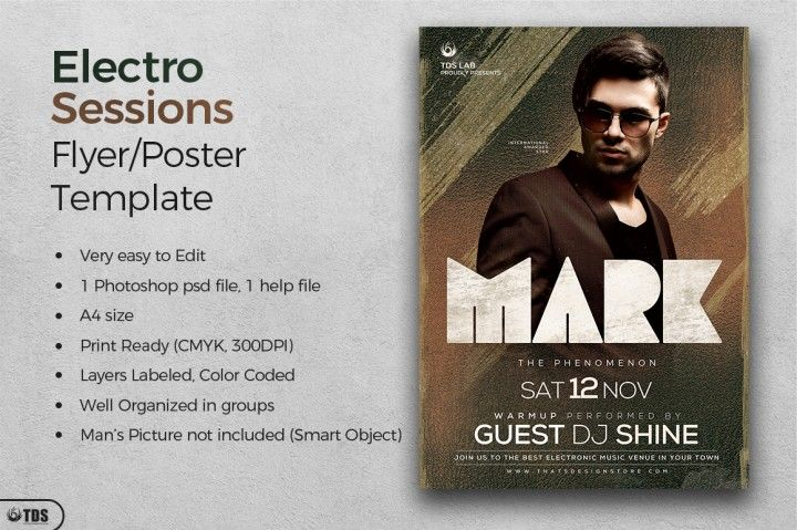 Electro Sessions Flyer Template | The Hungry JPEG