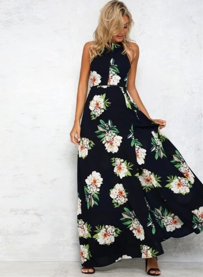 36babbde96ff The stylish dress featuring halter neck