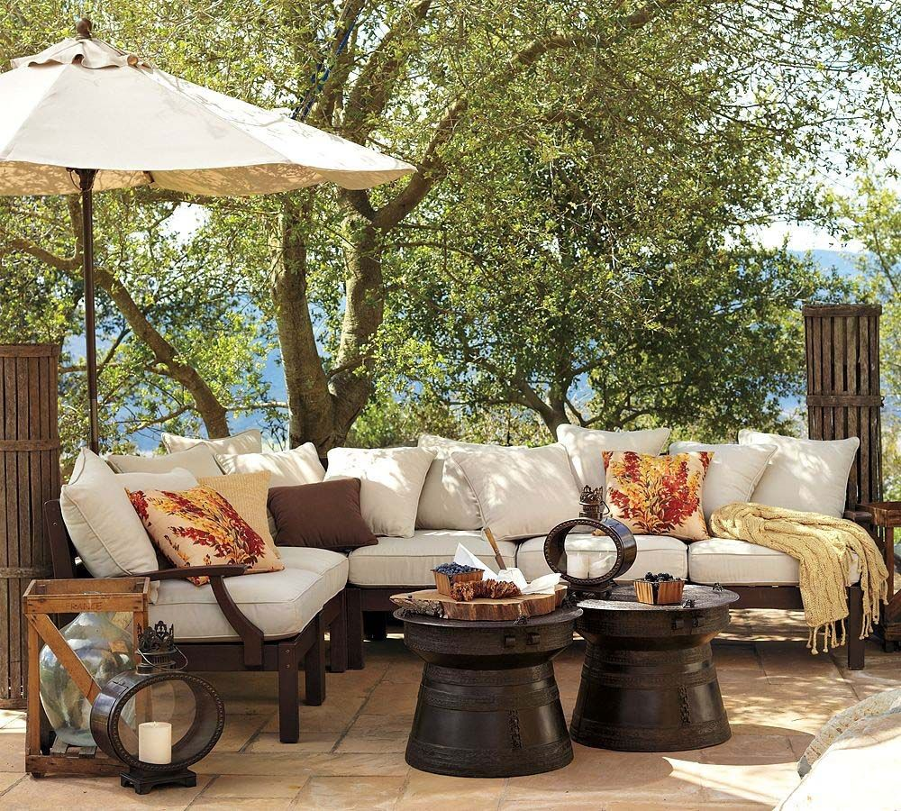 Pottery Barn Outdoor Sofa And Umbrella With Cocktail Tables    Would Love  To Do Two