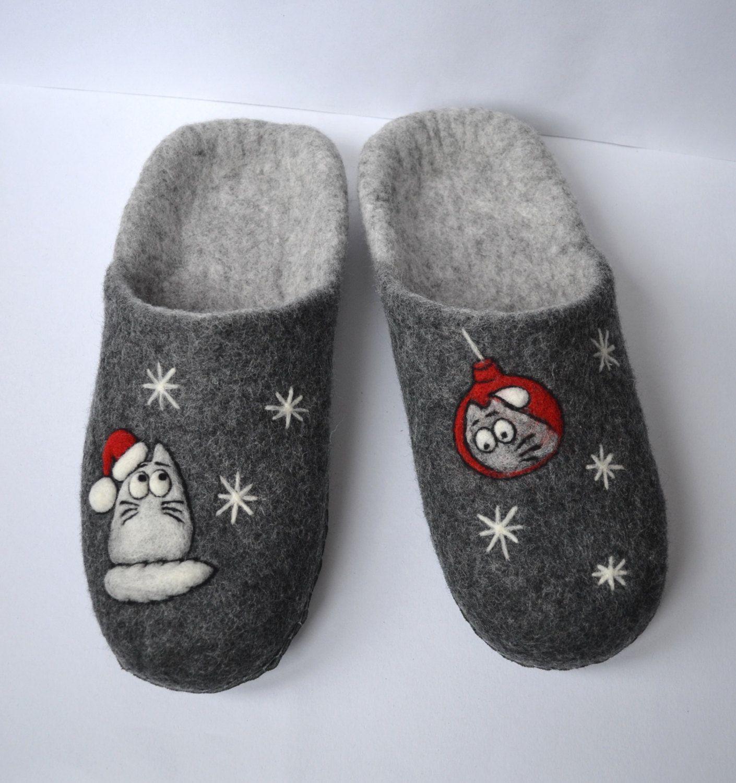 Felt wool Christmas cat slippers for men Women warm house
