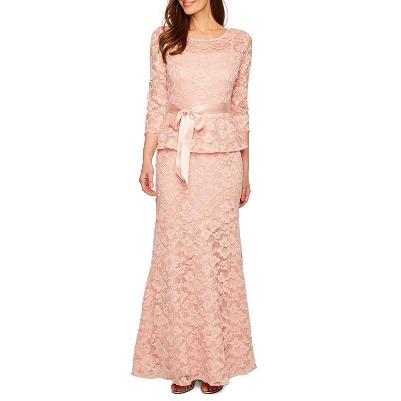 fb4f2f249dc Be by Chetta B 3/4 Sleeve Peplum Lace Gown | Products | Peplum ...