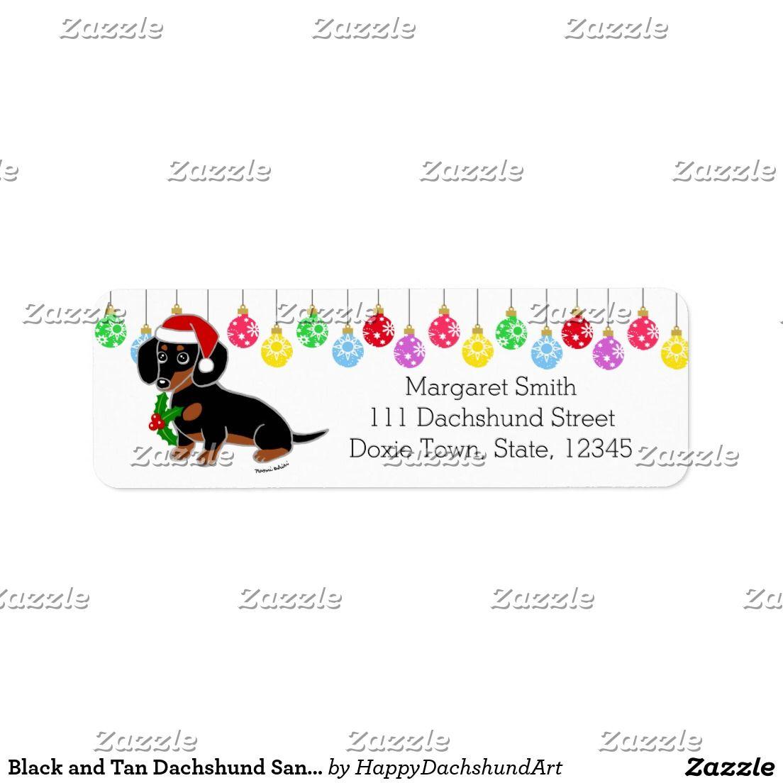 Black And Tan Dachshund Santa Labels And Tan