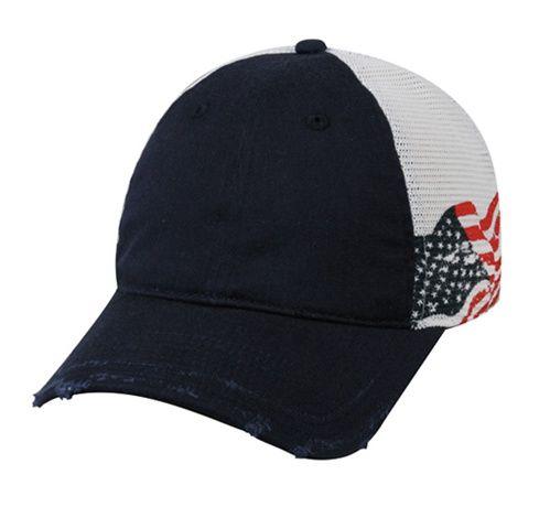 c200eb4f266d6 Custom Distressed Mesh Back Hat w/ American Flag | Custom ...