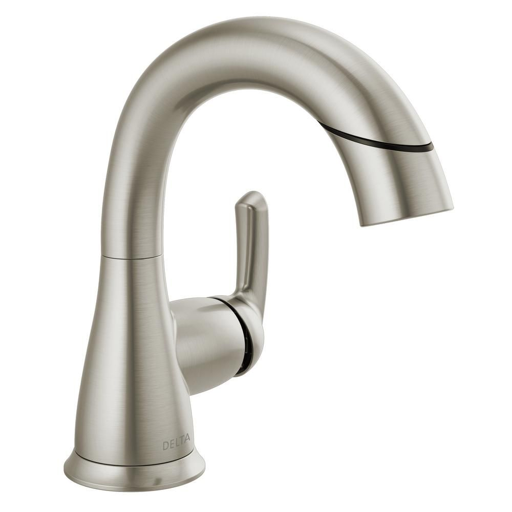 Delta Broadmoor Single Hole Single Handle Bathroom Faucet With Pull Down Sprayer In Spotshield Brushed Nickel 15765lf Sppd The Home Depot Single Handle Bathroom Faucet Bathroom Faucets Delta Faucets Bathroom Delta brushed nickel bath faucets
