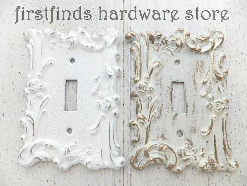 Light Switch Cover Plate Shabby Chic White Electrical