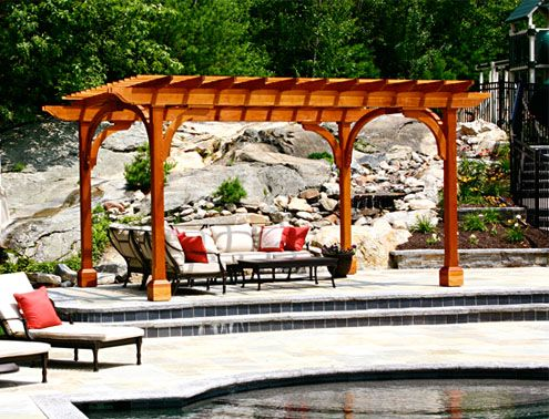 Post And Bracket Pergola   This Pergola Structure Provides A Respite From  The Sun, While