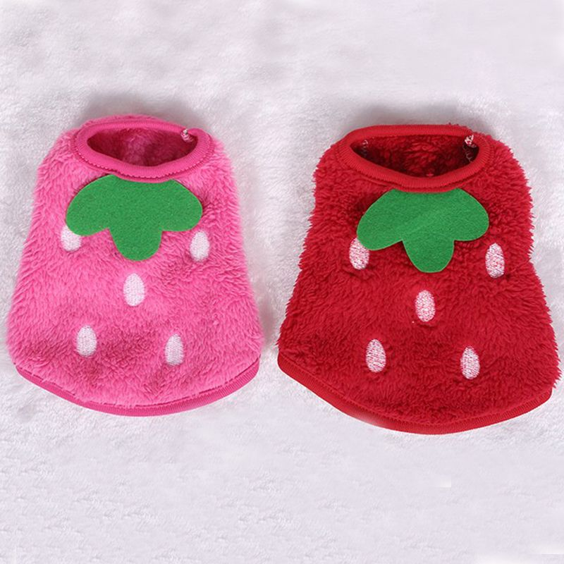 2017 New Coral Velvet Polka Dots Strawberry Milk Dog Clothes Newborn