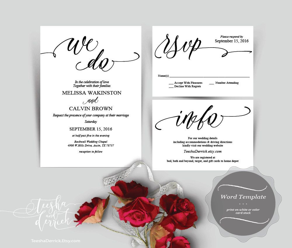 Wedding Invitation cards package in instant download editable word ...