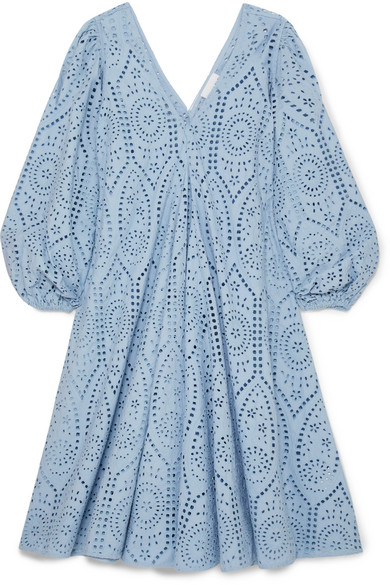 Ganni Broderie Anglaise Cotton Midi Dress Light Blue Cotton Midi Dress Satin Wrap Dress Midi Dress