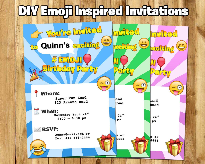 DIY Emoji Inspired Invitation - Download Customize Print - Emoji ...