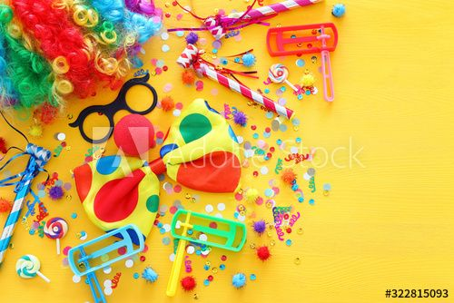 carnival, party and Purim celebration concept (jewish carnival holiday) over yellow background , #spon, #Purim, #celebration, #carnival, #party, #concept #Ad