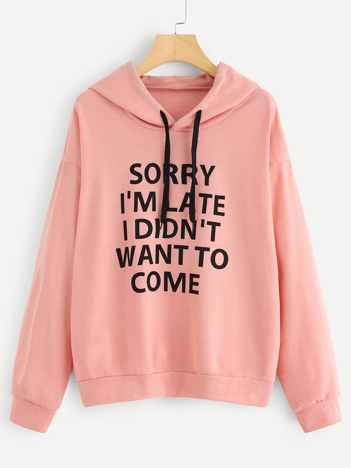 8199f250eee6 Shop Slogan Print Drop Shoulder Hoodie online. SheIn offers Slogan Print  Drop Shoulder Hoodie   more to fit your fashionable needs.