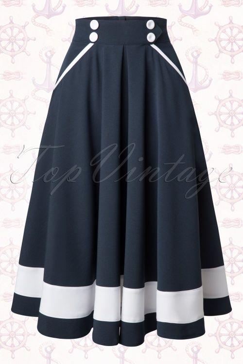 Vestido de vuelo marinero azul marino y blanco falda con