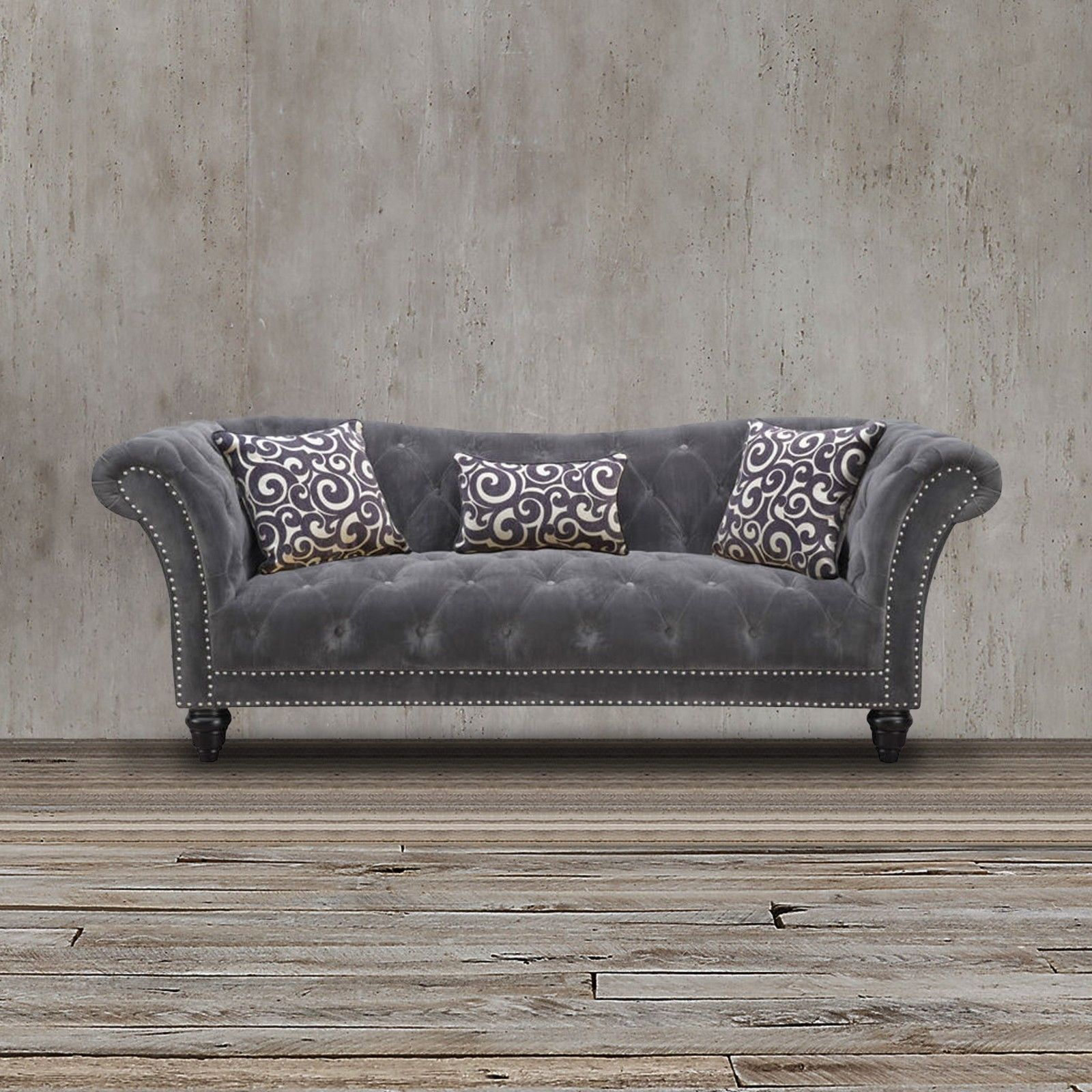 100 polyester sofa throws double bed ikea this gray nail head trimmed is upholstered in