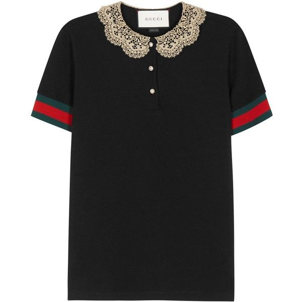 5146cd49a Womens Short-Sleeved Tops Gucci Black Lace-collar Cotton Polo Shirt ($430)  ❤ liked on Polyvore featuring tops, striped polo shirts, short sleeve tops,  ...
