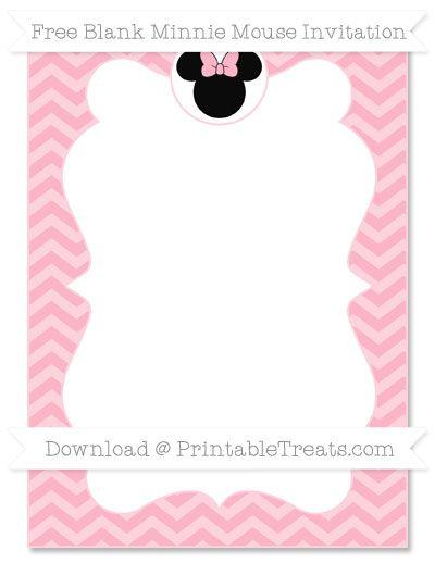 Free Pastel Light Pink Chevron Blank Minnie Mouse Invitation
