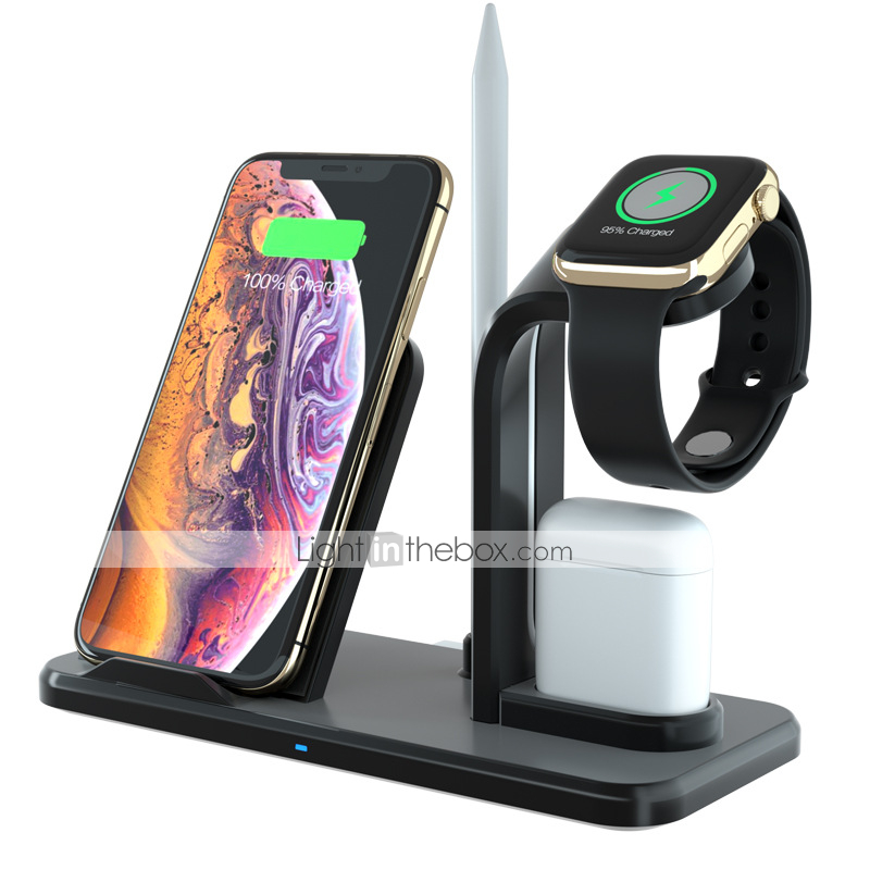 Wireless Charger 3 In 1 Charging Holder Compatible With Apple Watch Series 5 4 3 2 1 Airpods 10w Qi Wireless Charging For Iphone 11 Pro Max 11 Pro 11 X Xs Xr Xs Charger Stand Wireless Charger Apple Watch