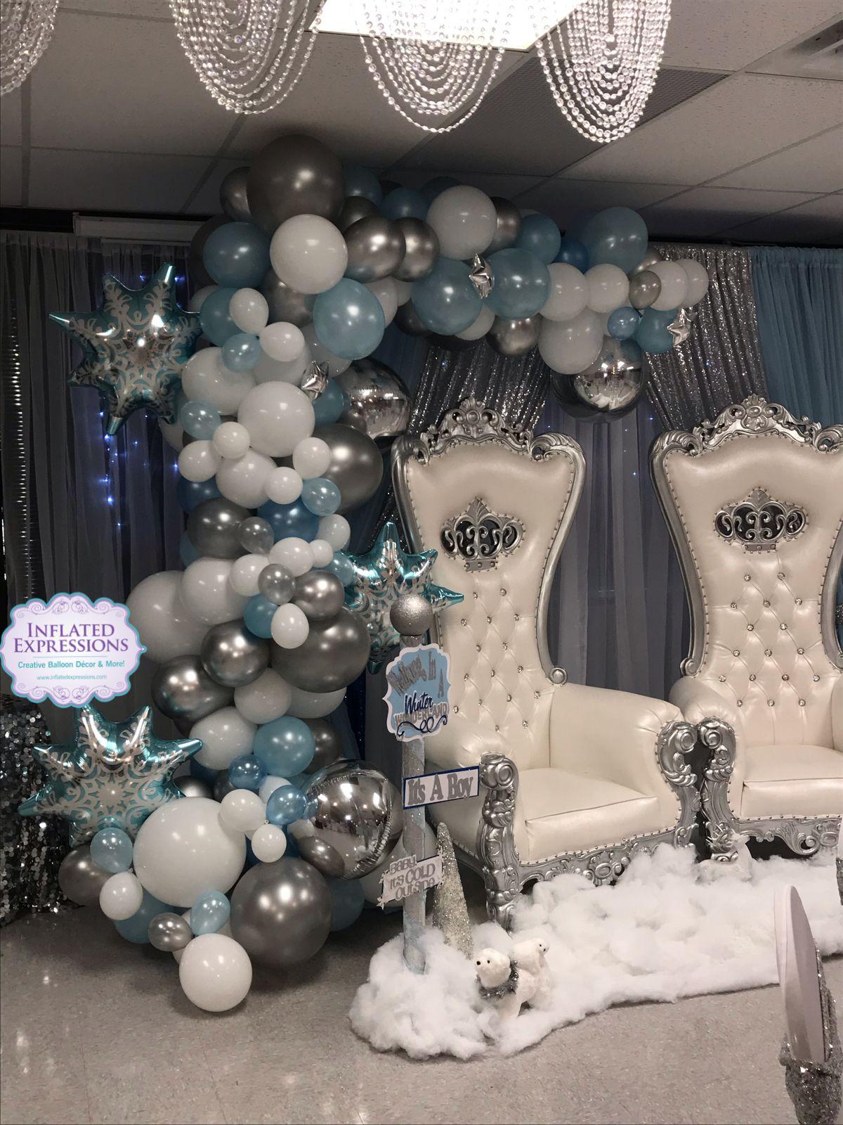 Balloon garland for winter wonderland baby shower it\u0027s a boy
