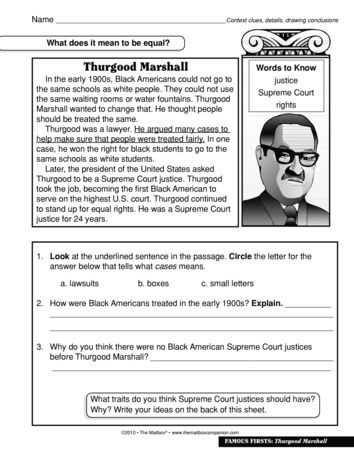 Thurgood Marshall The Mailbox Social Studies Worksheets