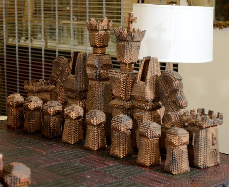 """Vintage Monumental Carved Wood Game Table and Chess Pieces -  A large pedestal base game table with matching chess pieces. Both table and pieces have elaborately designed details. The pieces themselves come apart and have interior """"hiding"""" spaces. The piece is signed and dated by the artist on the bottom (""""Paul M. Cunningham, - '94""""). Made in the United States."""