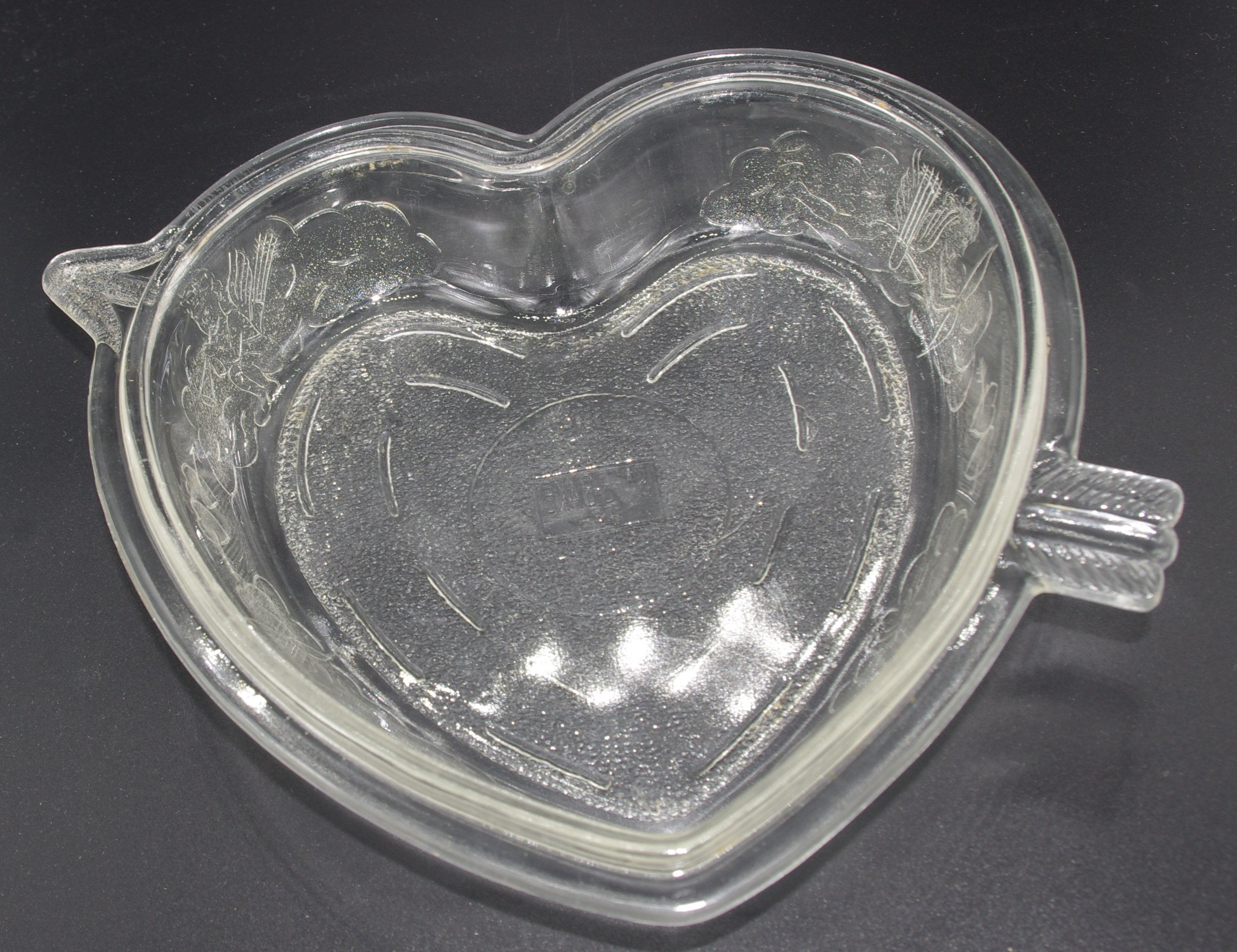 Heart glass cake pan baking dish embossed cupid safe