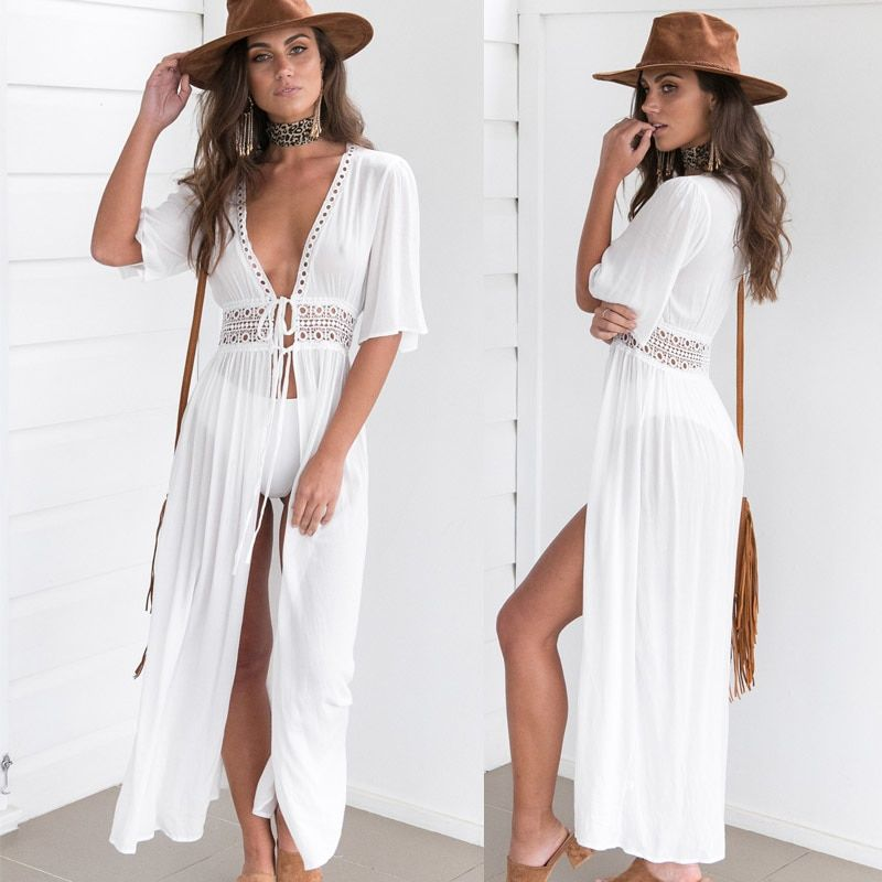 Zkcenier 2019 Lace White Beach Cover Up Dress Tunic Long Pareos Bikinis Cover Up... 9