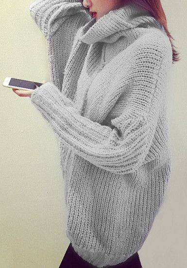 Light Grey Oversized Knitted Turtleneck Sweater | Clothes I love ...