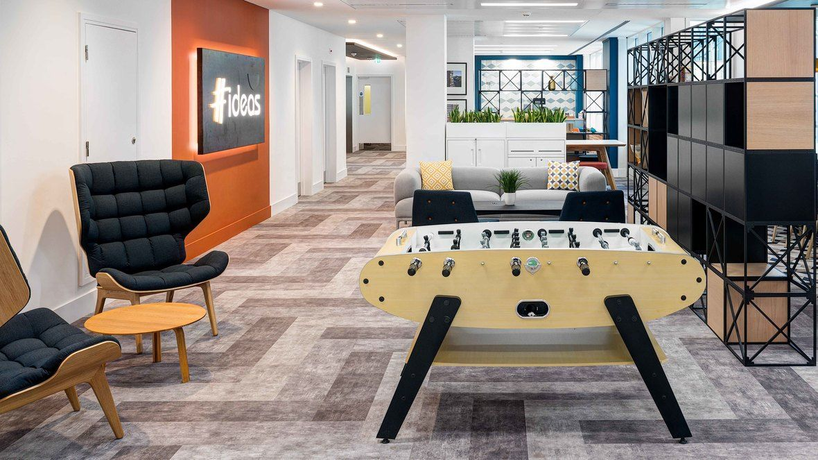 Flotex Flocked Flooring Textile Planks For Commercial Office Design Urbanest Student Accommodation Head Office Commercial Office Design Home Decor Office Interiors