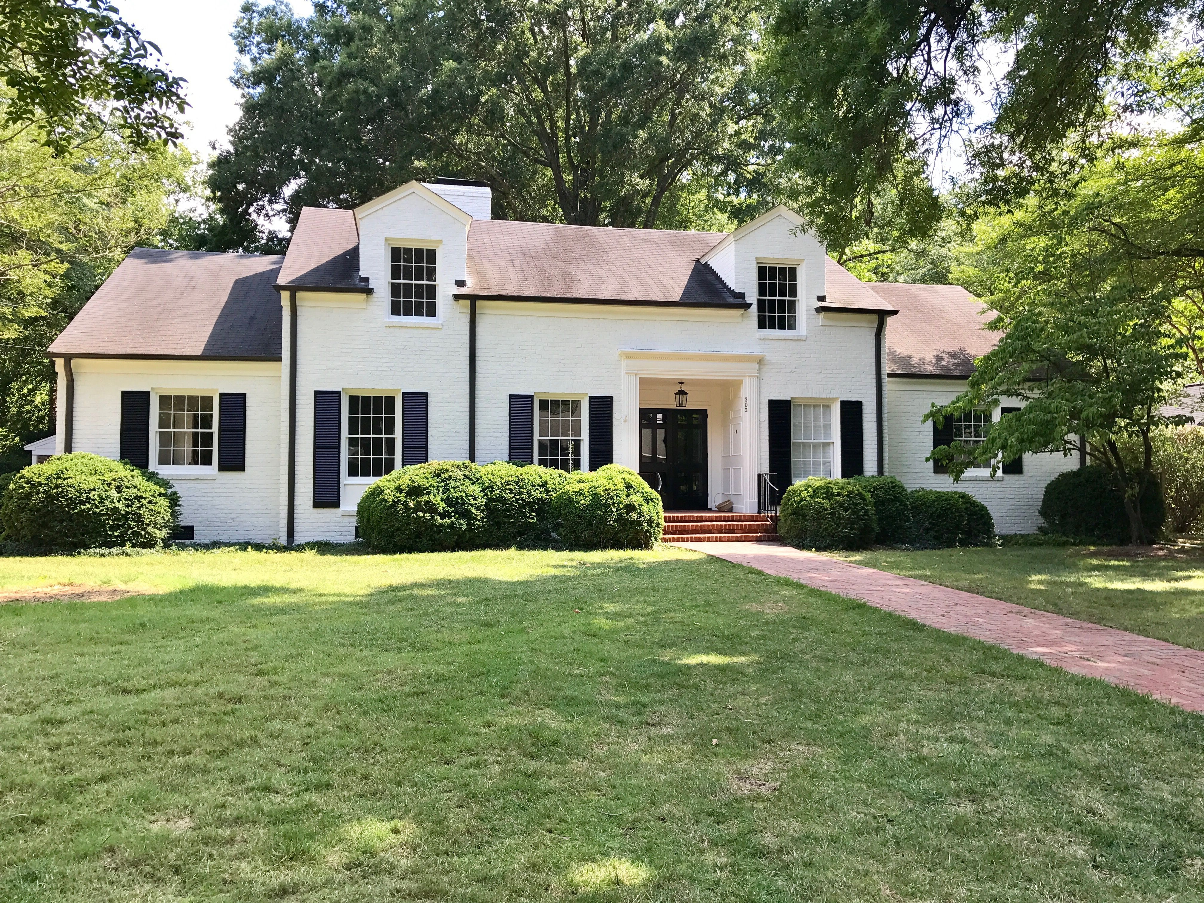 Exterior Paint color. White Brick Traditional House. Benjamin Moore on white dove color, china white exterior paint, ballet white exterior paint, white dove painting,