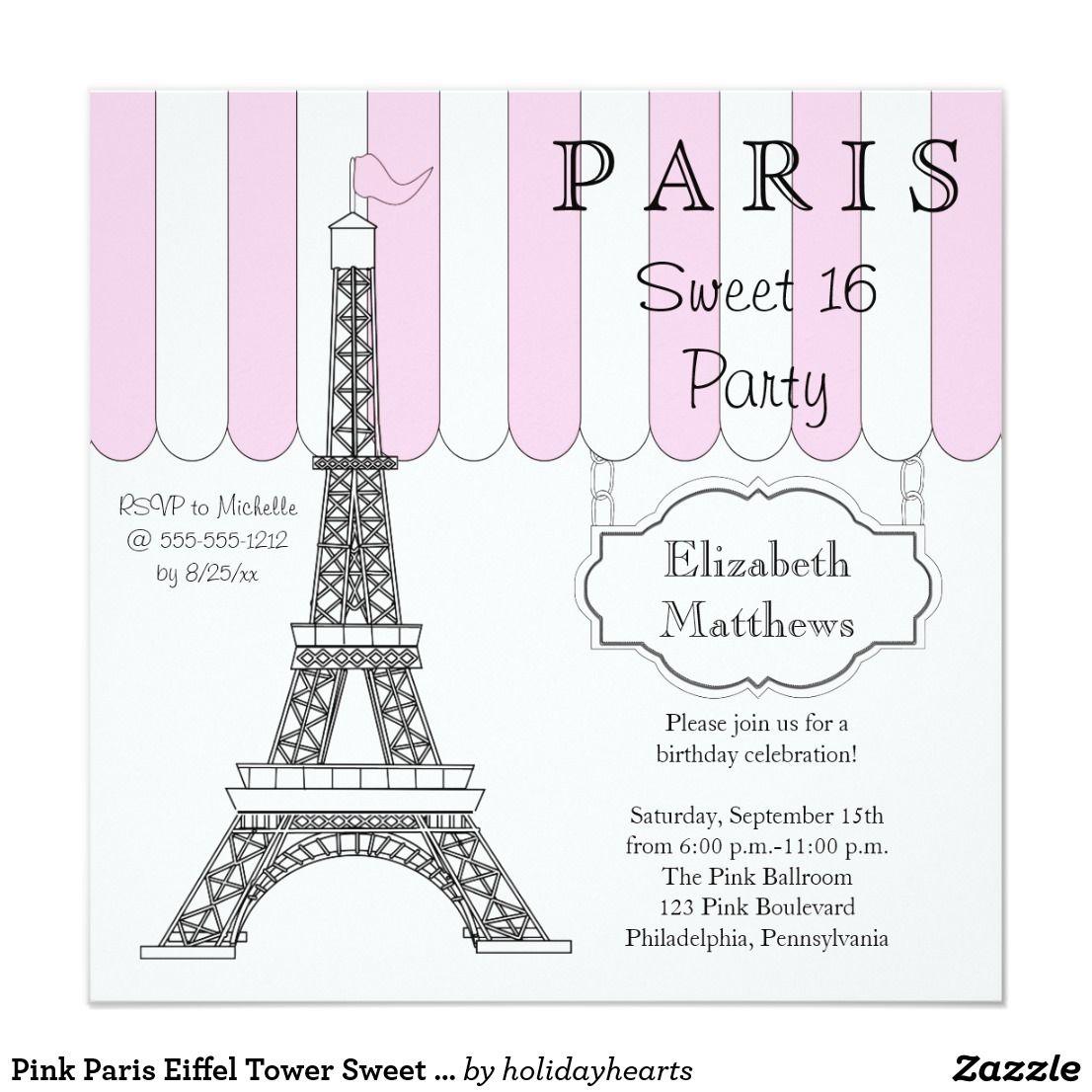 Pink Paris Eiffel Tower Sweet 16 Party Invitation | { Happy Birthday ...