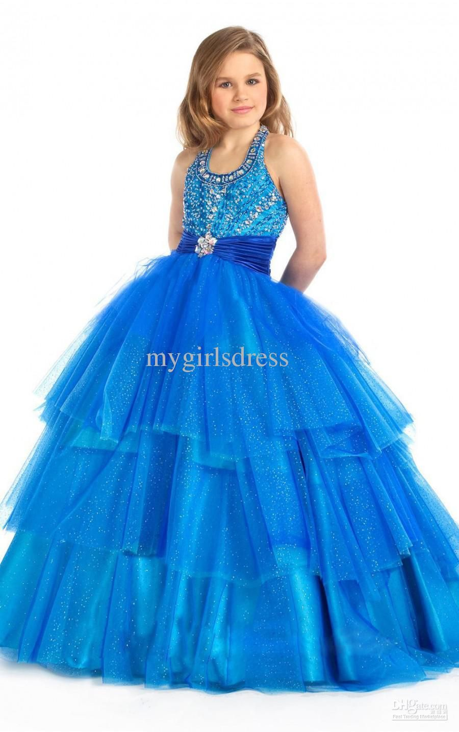 New style blue halter cute girl kids pageant bridesmaid dance new style blue halter cute girl kids pageant bridesmaid dance party princess ball gown formal dresses custom made ombrellifo Images