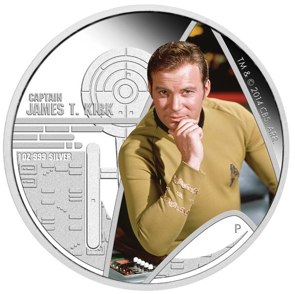 2016 Tuvalu 1 oz Silver Star Trek Colored Proof Kirk and Spock