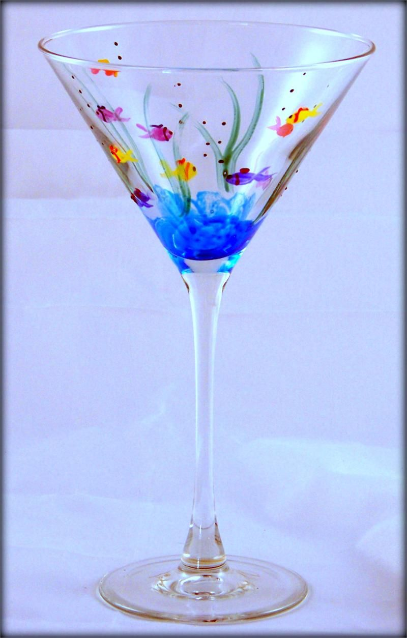 Hand painted fish on martini glass glass paradox for Hand designed wine glasses