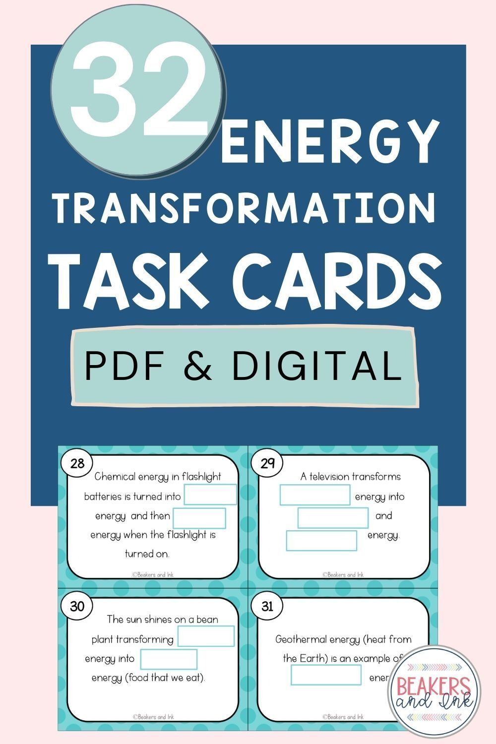 Energy Transformation Task Cards Science Teaching Resources Teaching Teens Task Cards