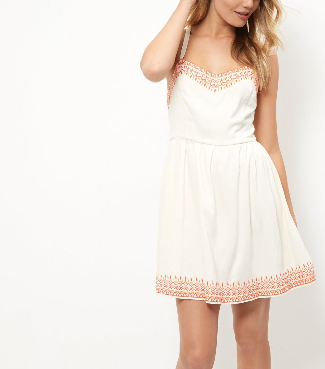 White embroidered trim strappy dress new look ss key looks